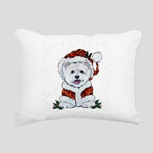 Santas Westie Helper Rectangular Canvas Pillow